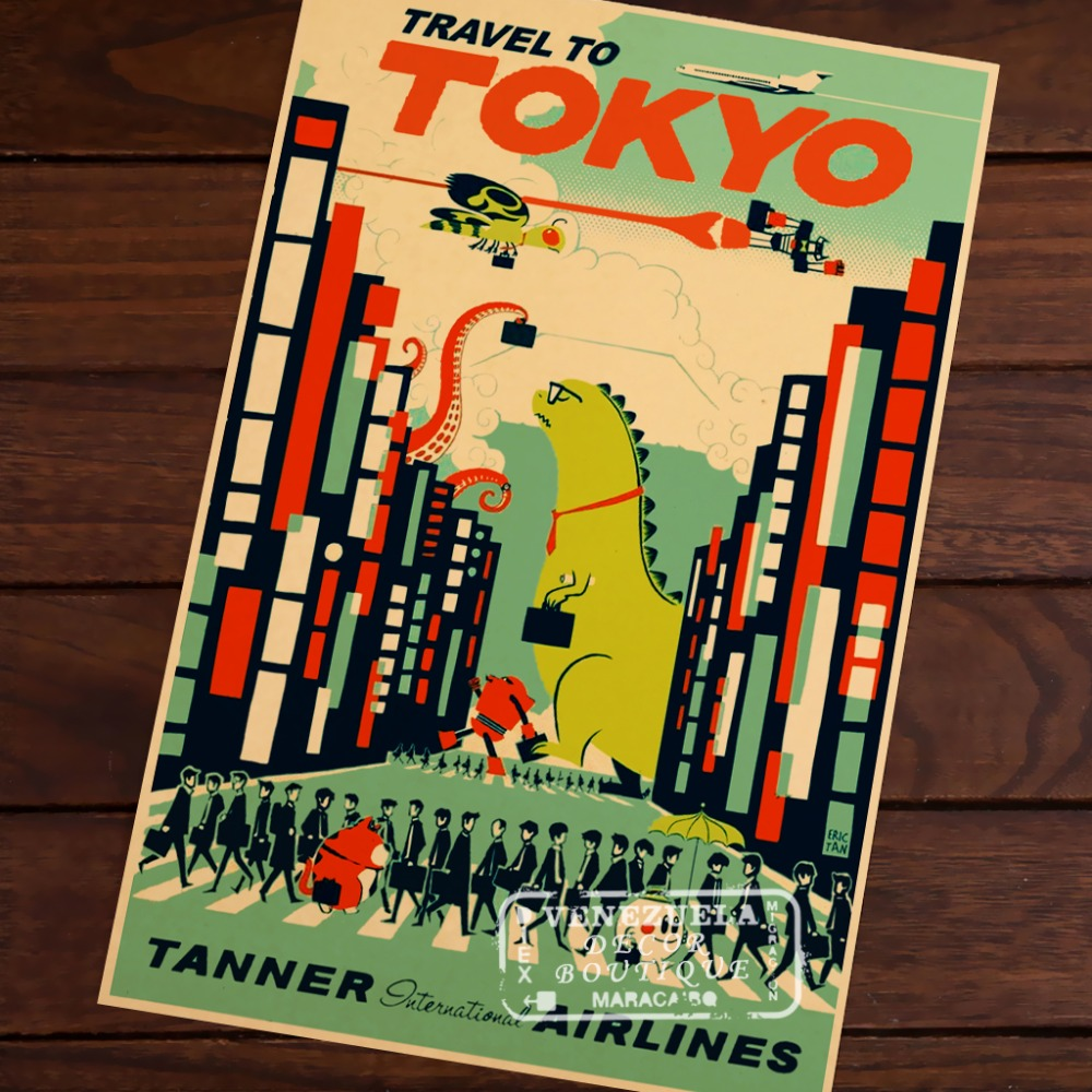 Pop Art Japan Tokyo Map Vintage Travel Poster Classic Retro Kraft ...