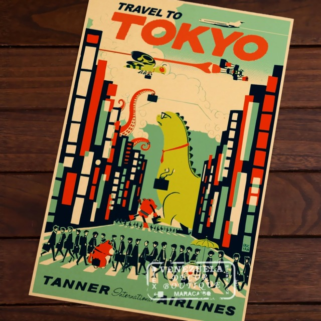 Pop Art Japan Tokyo Map Vintage Travel Poster Classic Retro Kraft Decorative Maps Wall Sticker Home Bar Posters DIY Decor Gift