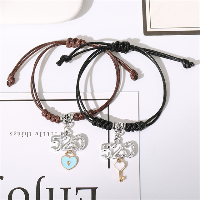 2 PCs/Set New Arrival Handmade Couple Bracelets Star Crown Key Lock Charm Bracelet Rope Chain Bracelet Romantic Gifts for Lovers 4