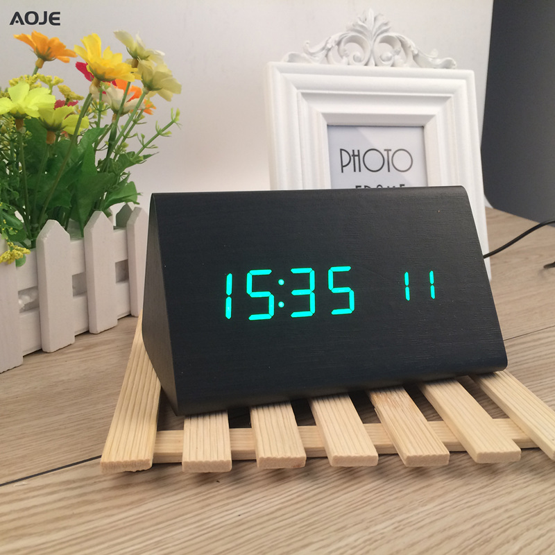 LED triangle wooden minimalist Alarm Clock with temperature Sound Control despertador handmade wood de cabeceira reveil matin