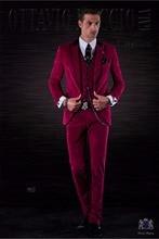 2017 Latest Coat Pant Designs Italian Burgundy Velvet Men Suits Slim Fit Tuxedo 3 Piece Custom