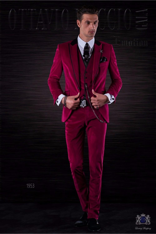 2017 Latest Coat Pant Designs Italian Burgundy Velvet font b Men b font font b Suits