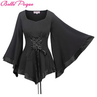 Women Vintage Gothic T Shirt Femme 3 4 Bell Sleeves Ladies Black Clothes 2018 Summer Sexy