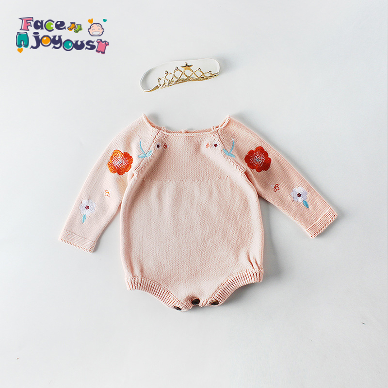 Baby Knit   Romper   2019 Spring Baby Girl   Romper   100% Cotton Embroidery Floral Newborn Baby   Rompers   Long Sleeve Infant Baby Clothes