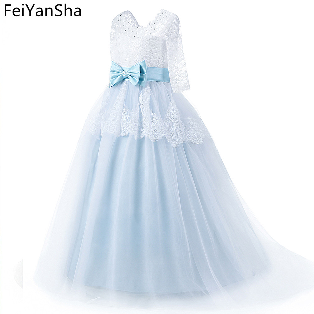 2019 Princess White Lace Pink   Flower     Girl     Dresses   Lovely Ball Gown Party Wedding   Girls     Dresses   with Bow Sash