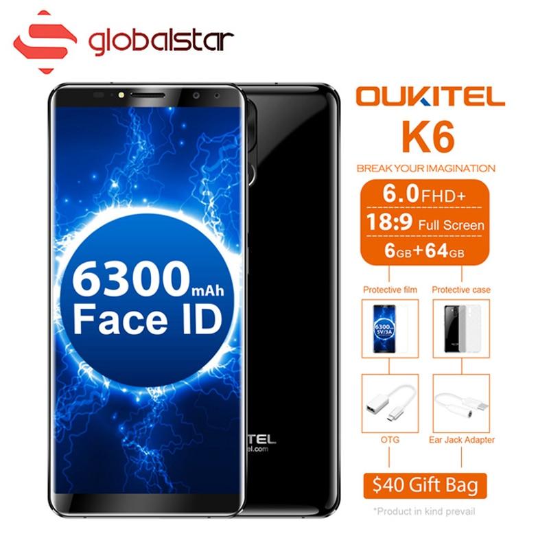 OUKITEL K6 6300 mah Battey Visage ID 18:9 6.0 Plein Écran 6 gb RAM 64 gb ROM Smartphone MT6763 octa Core 21MP + 13MP 4 Cames 4g Téléphone