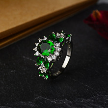 купить Stones Round Created Emerald Anillos De Wedding Rings for Women 925 Sterling Silver Emerald Crystal Diamante Fine Jewelry Rings по цене 661.08 рублей