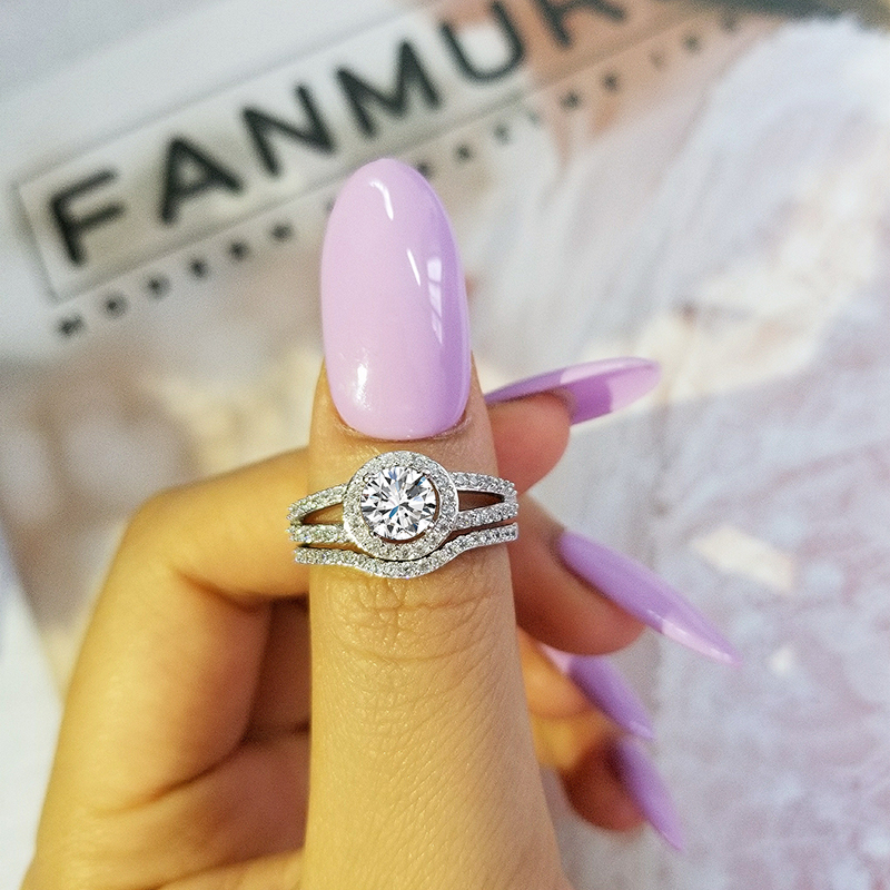 Black Friday Luxury Genuine 925 Sterling Silver rings set band for women wedding engagement BRIDAL jewelry
