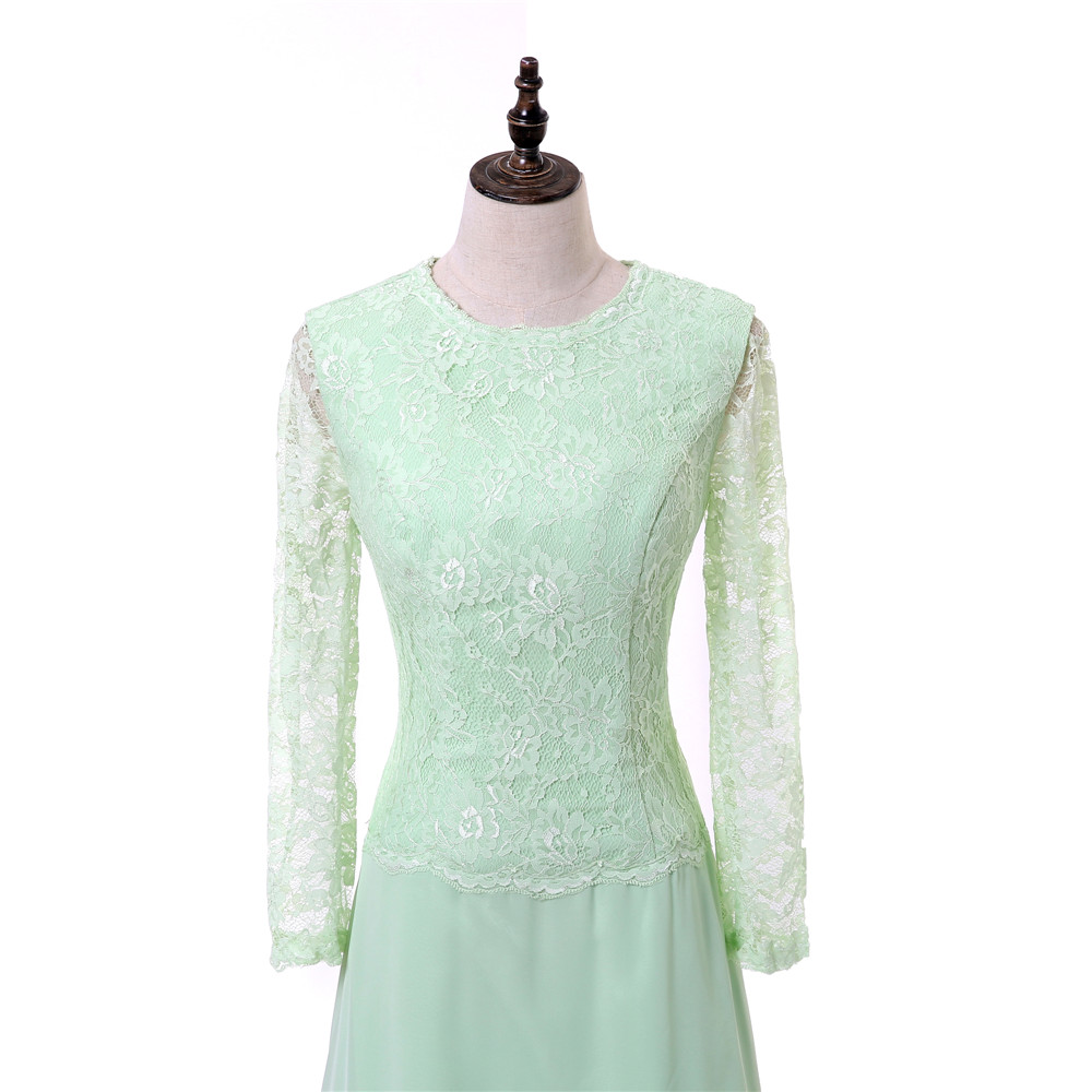 b98ee19125a Mint Green 2018 Mother Of The Bride Dresses A-line Long Sleeves Chiffon  Lace Long Evening Dress Groom Mother Dresses For Wedding