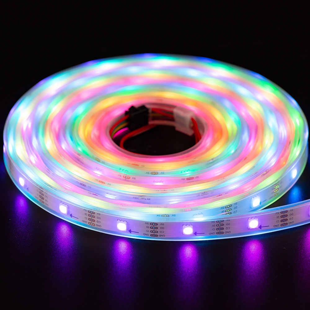 1 м/5 м SK9822 RGB Светодиодная лента (аналогичный APA102) быстрая передача данных и часы 30/60/144 светодиодов/пикселей/м индивидуальный адресуемый IP30/65/67 DC5V