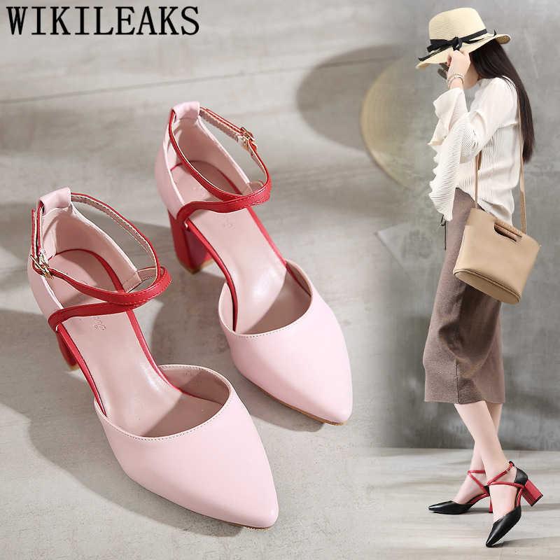Sandali di cuoio delle donne del partito scarpe tacco di spessore pompe delle donne scarpe tacco del sandalo scarpe da sposa sposa fetish tacchi alti tacones