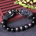 Natural light counter Genuine Rainbow Obsidian bracelet with two big brave men and women transport bead jewelry