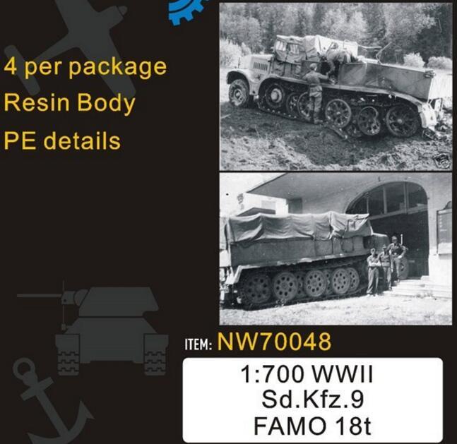 1/700 Scale WWII German Sd.Kfz.9 Famo 18t (4pcs), (resin+metal)