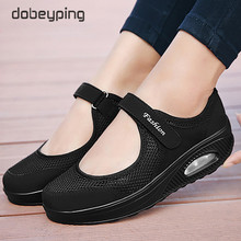 Summer Fashion Women Flat Platform Shoes Woman Breathable Air Mesh Casual Shoe Wedges Ladies Boat Shoes Mother Walking Footwear
