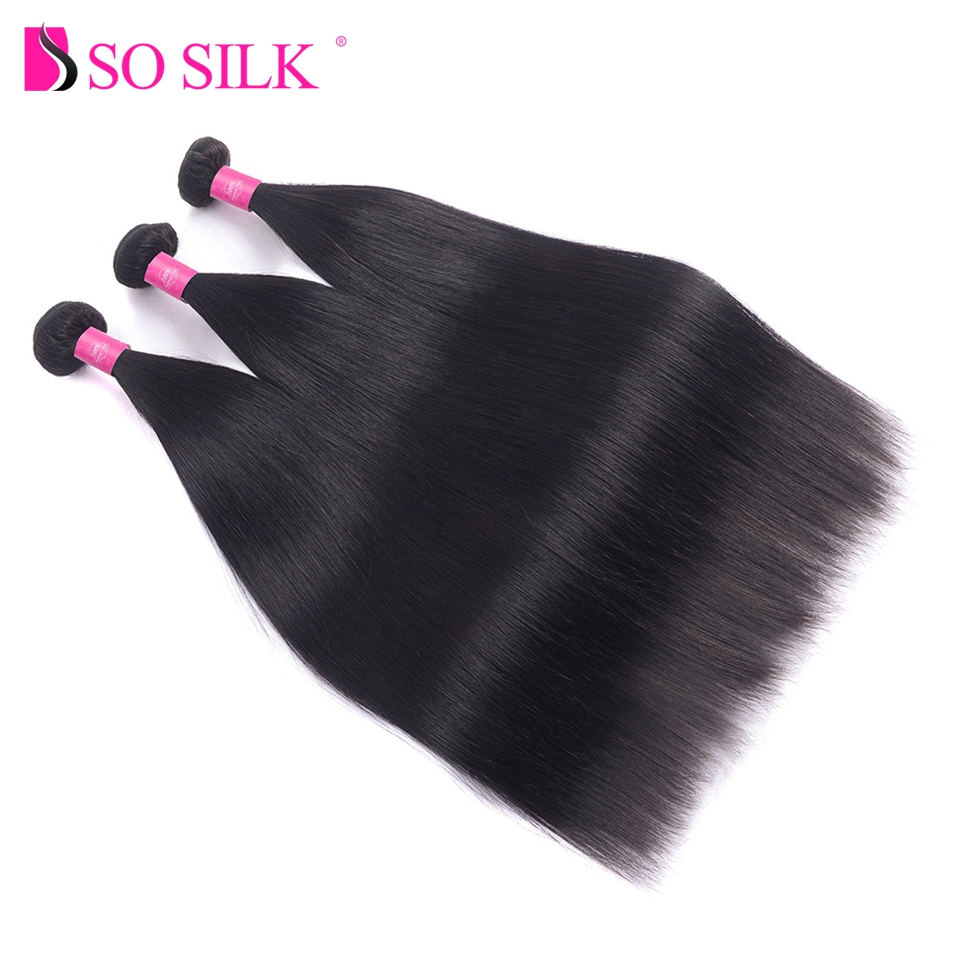 So Silk Indian Straight Hair Bundles 100% Human Hair Weave Non Remy Hair Extensions Doub ...