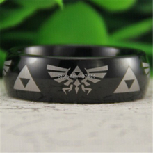 Free Shipping USA UK Canada Russia Brazil Hot Sales 8MM Black Dome Comfort Fit Legend of Zelda New Men's Tungsten Wedding Ring