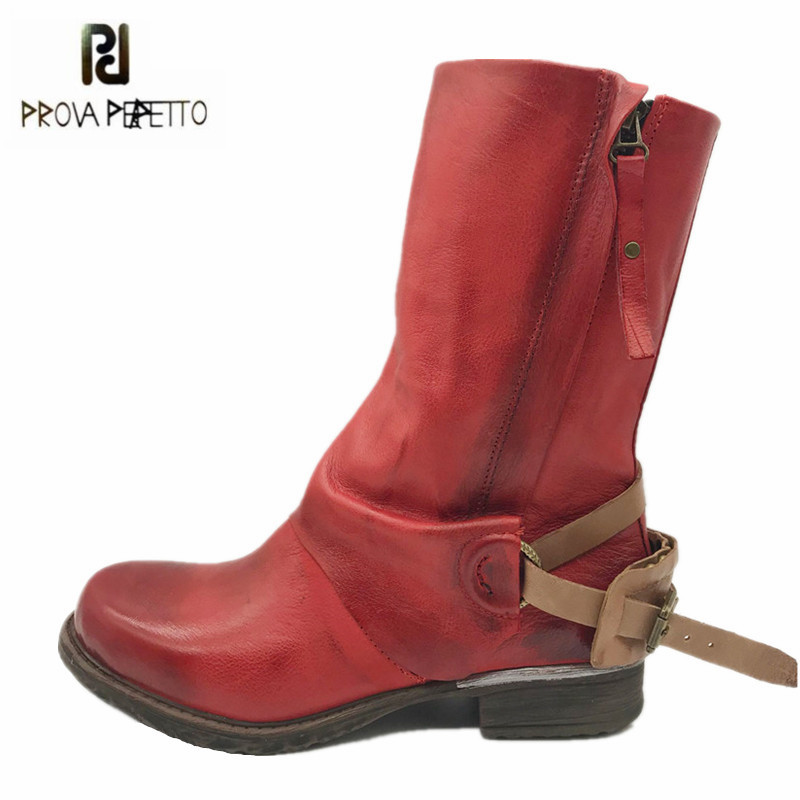 Prova Perfetto Fashion Red Women Mid-calf Boots Soft Genuine Leather Double Zipper Flat Botas Autumn Winter Platform Rubber Boot prova perfetto winter women warm snow boots buckle straps genuine leather round toe low heel fur boots mid calf botas mujer