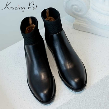 krazing pot genuine leather knitting short boots med heels round toe gorgeous slip on concise design office Chelsea boots l52