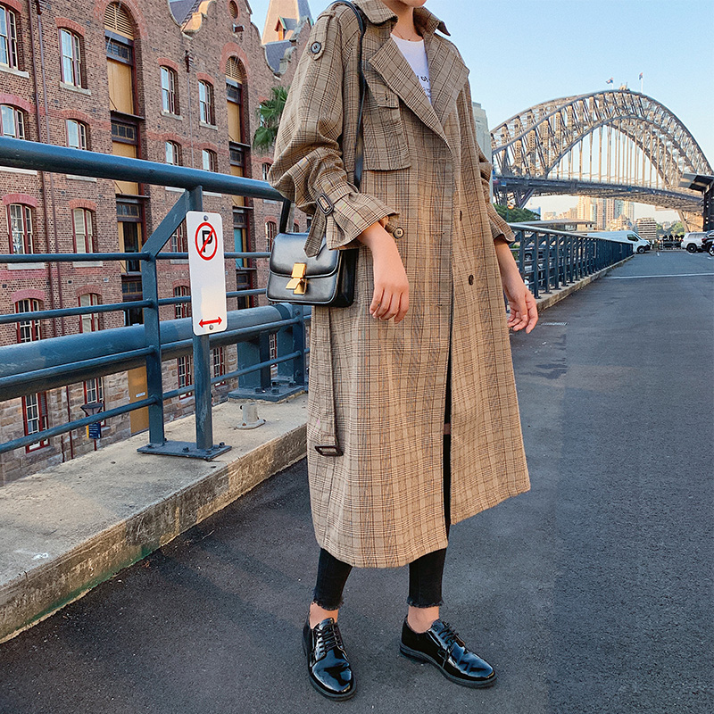 2019 New Women's Vintage Casual Clothing Double Breasted Classic Long   Trench   Coats With Belt Plaid Korean Style Retro Coats