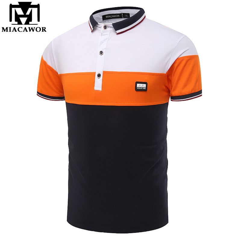 MIACAWOR New Men   Polo   Shirt Cotton Summer Short sleeves Camisa   Polo   Slim Fit Patchwork   Polo   Homme MT595