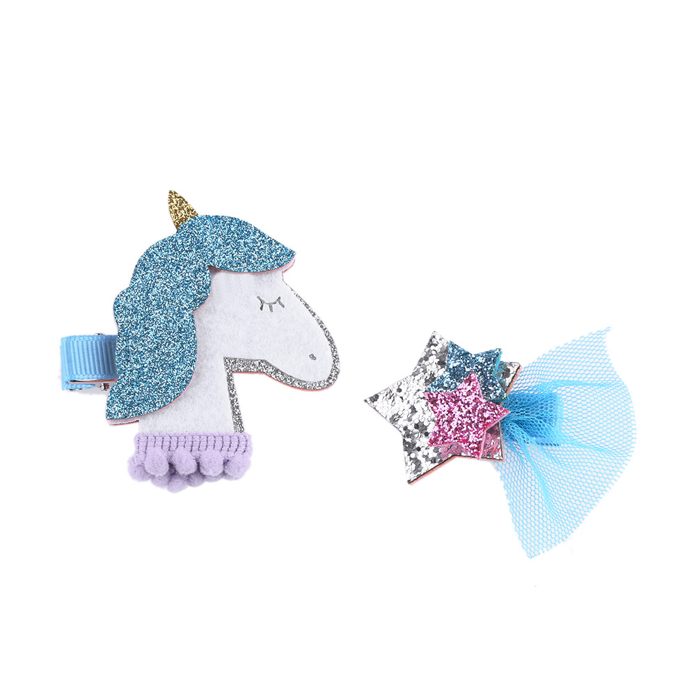 1 Set Kids Hair Clip Girls Cartoon Animal Glitter Synthetic Leather Unicorn Hairpin Animation Horse Hair Barrette Sparkly Star halloween party zombie skull skeleton hand bone claw hairpin punk hair clip for women girl hair accessories headwear 1 pcs