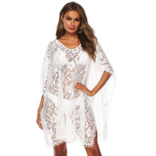 womens loose whtie dress lace V-collar pom stitched beach bikini blouse  mini transparent cover-ups spandex sexy