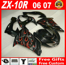 High grade parts for 06 07 Kawasaki zx10r fairings 2006 2007 red white flames in black ninja ZX-10R fairing set KMV85