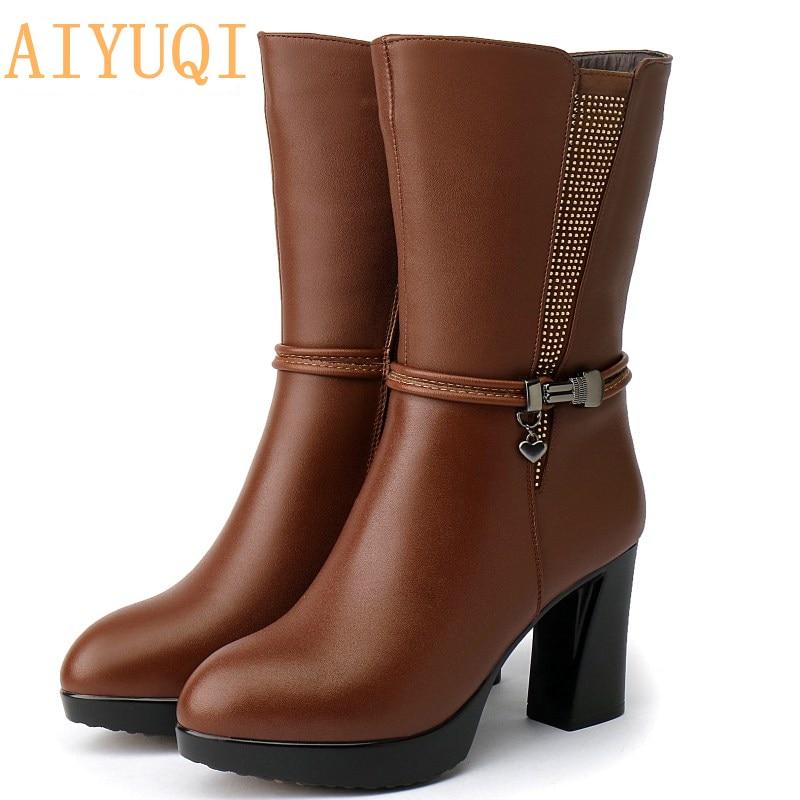 AIYUQI 2019 genuine leather winter boots women  Australia wool rhinestone trend motorcycle shoes
