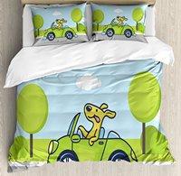 Dog Driver Duvet Cover Set, Puppy on the Road Car Jack Russell Journey Terrier Speed Race Cartoon, 4 Piece Bedding Set
