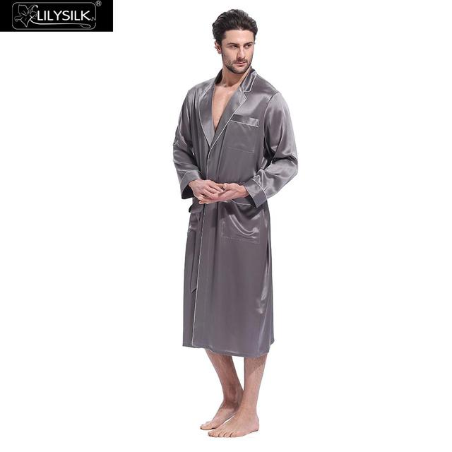 09bd081925 LilySilk Robe Bathrobe Sleepwear Kimono Male Silk Men Night Designer Long  Sleeve Belt Pockets Brand Turn