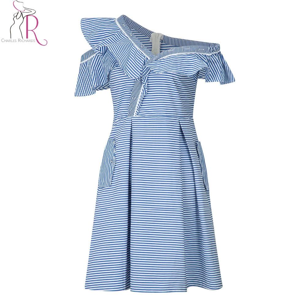 8c737f712b Blue Stripe Asymmetric Cold Shoulder Ruffle Trim A Line Midi Dress Women  Short Sleeve Surplice V Neck Novelty Designer Dresses-in Dresses from  Women s ...