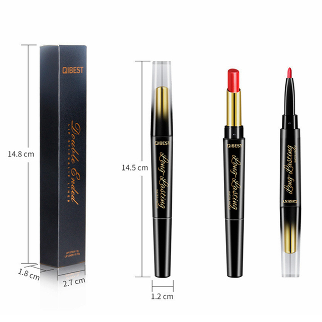 15 Color Lips Makeup Lipstick Sexy Red Lip Matte Long Lasting Lip Pencil Waterproof Stick Liner Double-end Black Matte Lipsticks 5