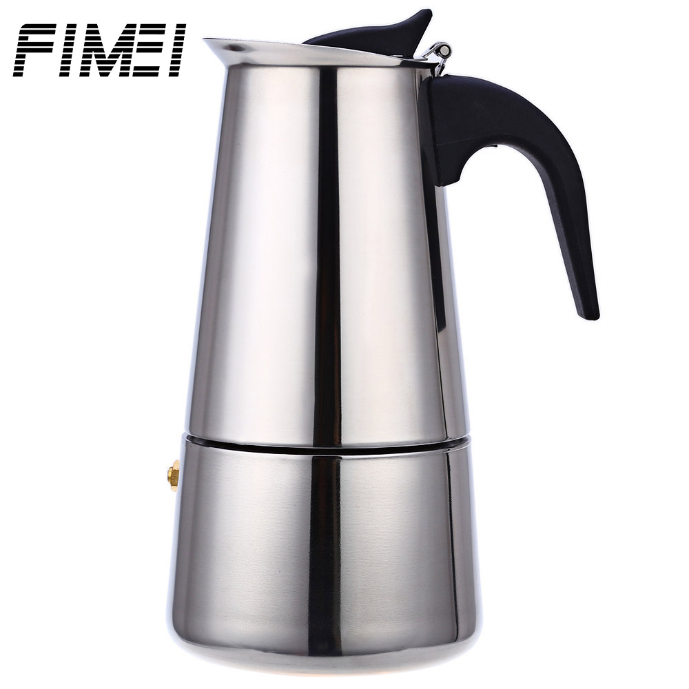 FIMEI Portable Edelstahl Kaffeemaschine Mokka Latte Percolator Stove Cafeteira Espressomaschine Mit 100 ML 200 ML 300 ML 450 ML
