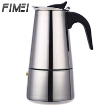 FIMEI Portable Stainless Steel Coffee Maker Mocha Latte Percolator Stove Cafeteira Espresso Machine With 100ML 200ML 300ML 450ML недорого