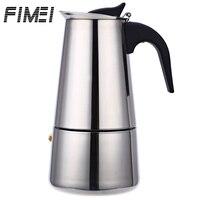 Fimei المحمولة المقاوم للصدأ آلة إسبرسو صانع القهوة موكا لاتيه مزحلة موقد cafeteira مع 100 ملليلتر 200 ملليلتر 300 ملليلتر 450 ملليلتر-في آلة إعداد القهوة من الأجهزة المنزلية على