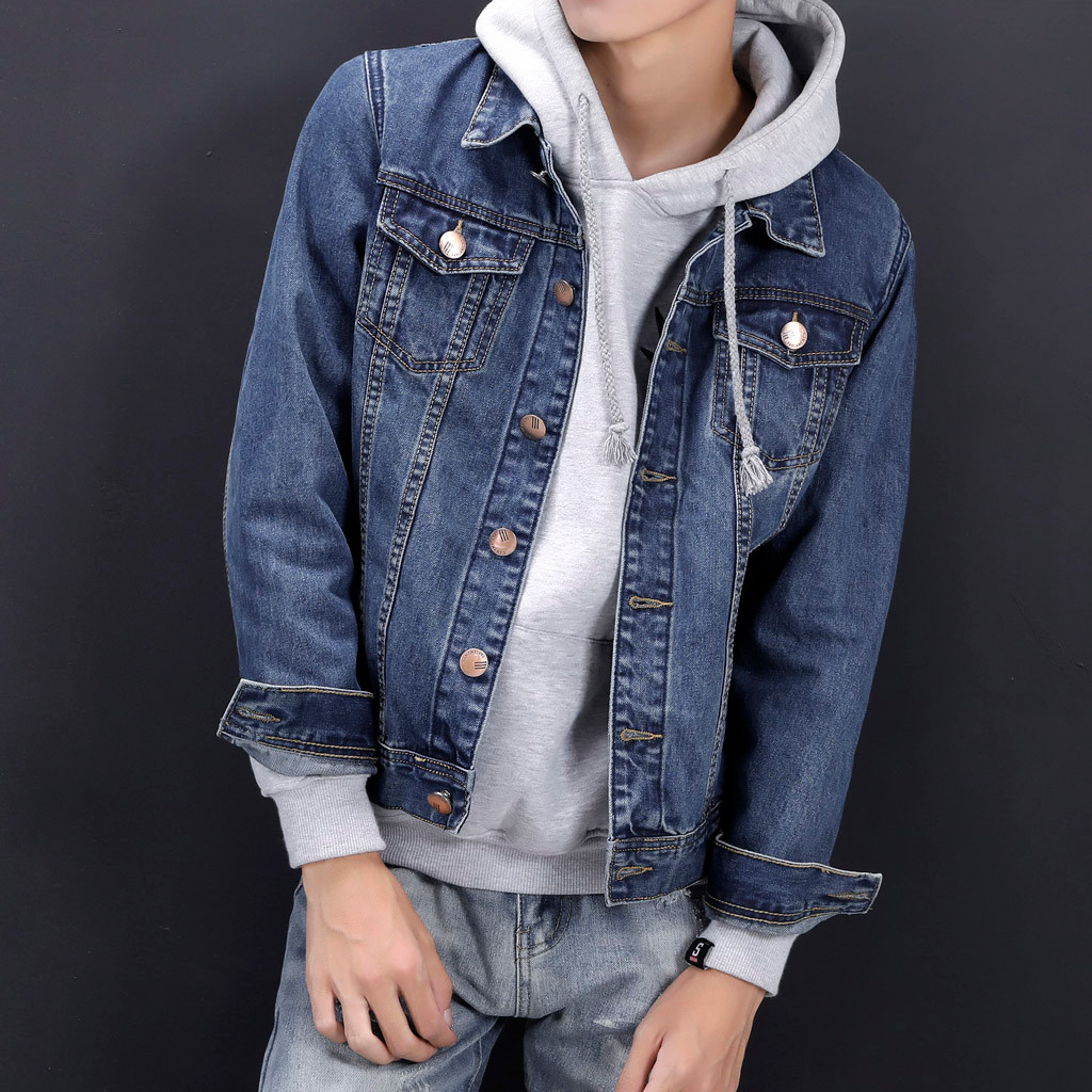 7814f3b65a Mens Denim Pockets Pullover Long Sleeve Sweatshirt Tops Blouse Outwear cow  skin jacket men Coat jean jacket men oversized  g8-in Jackets from Men s  Clothing ...