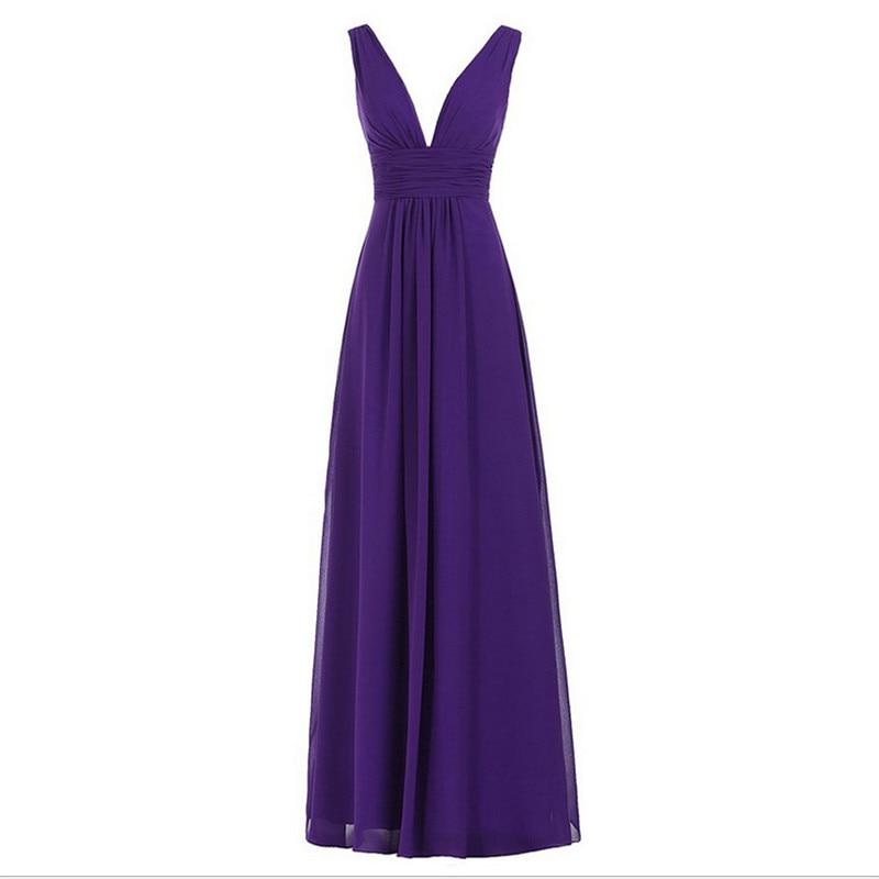 Vestido De Noiva Elegant Bridesmaid Dress Long Coral Deep V neck ...