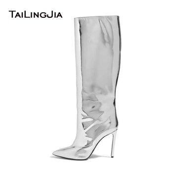 Mulheres Do Dedo Do Pé Apontado Botas 2017 Botas de Deslizar Sobre Couro Tira Efeito de Espelho Na Altura Do Joelho Botas De Cano Alto Sapatos De Couro Metálico Plus tamanho