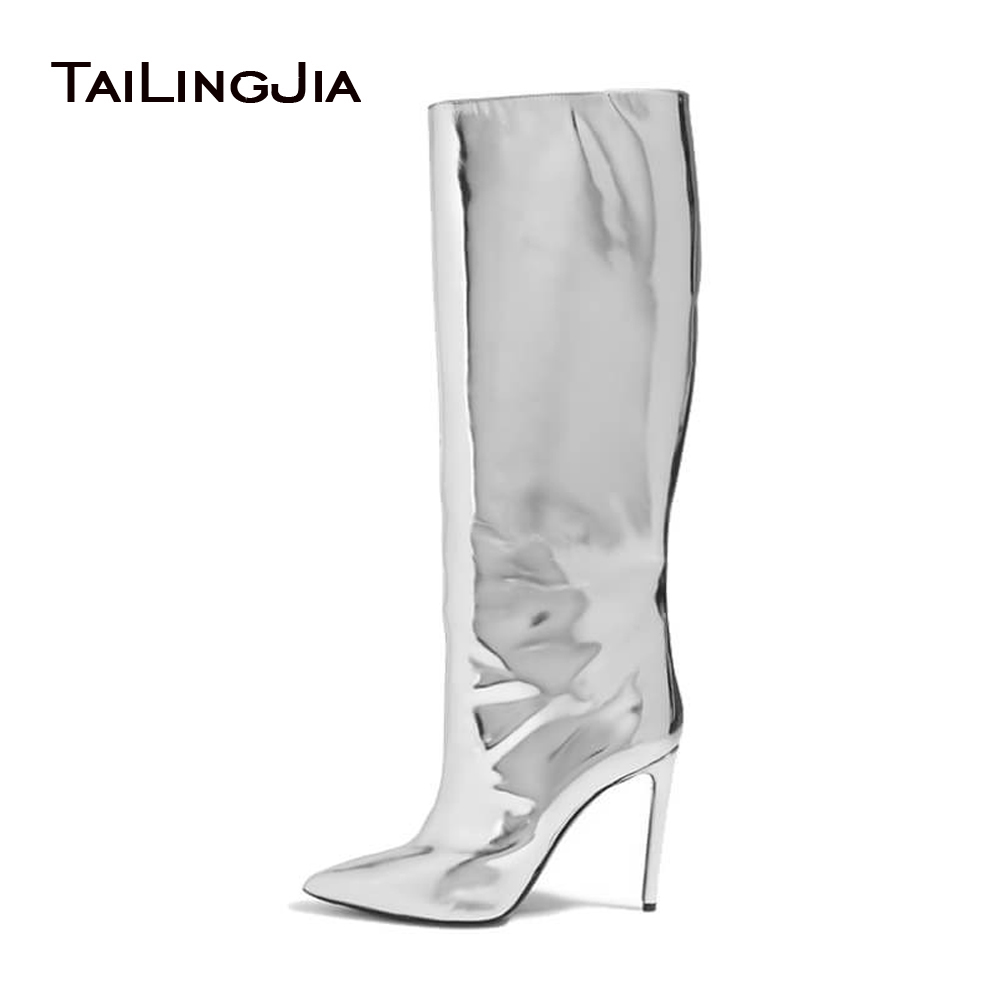 Women Pointed Toe Boots 2017 Mirror Effect Boots Slip On Sliver Patent Leather Knee High Boots Metallic Leather Shoes Plus SizeWomen Pointed Toe Boots 2017 Mirror Effect Boots Slip On Sliver Patent Leather Knee High Boots Metallic Leather Shoes Plus Size