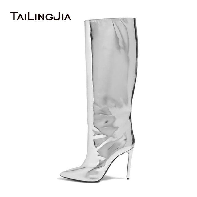 82f25333778 Women Pointed Toe Boots 2017 Mirror Effect Boots Slip On Sliver Patent  Leather Knee High Boots Metallic Leather Shoes Plus Size