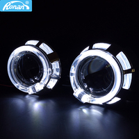 Ronan 2.0 moto H1 bi xenon double led angel eyes one set shrouds H4 H7 adapter car headlight use H1 bulb for retrofit