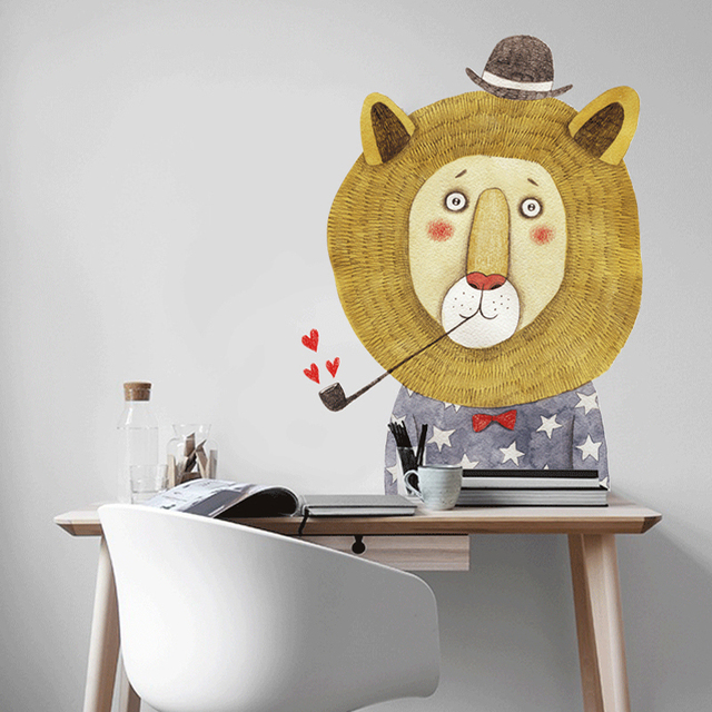 Cartoon Animal Wall Stickers Lion Painting Illustration Nordic Style Kids Decoration  Home Decoration Accessories Home Decor