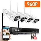 ZOSI 4CH 960P HDMI NVR 4PCS 1.3 mp IR Outdoor Weatherproof P2P CCTV Wireless IP Camera Security System Surveillance Kit 1TB HDD