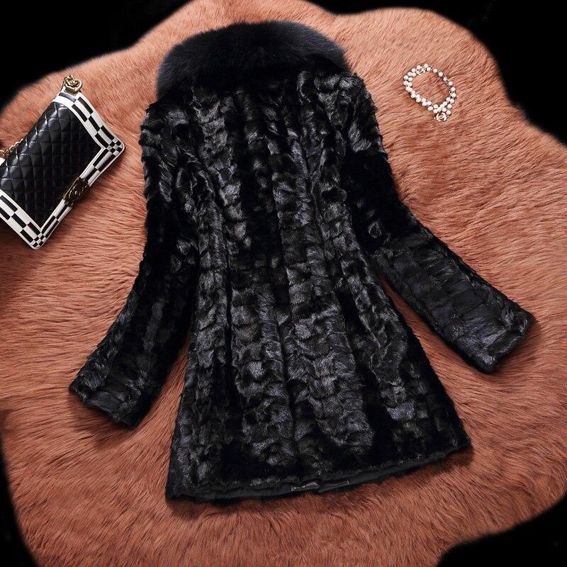Renard À Pièces Fourrure 2018 Long Réel Vêtements Black D'hiver Naturel Vison Femmes Luxury De Col Manteau OYpYwqUH