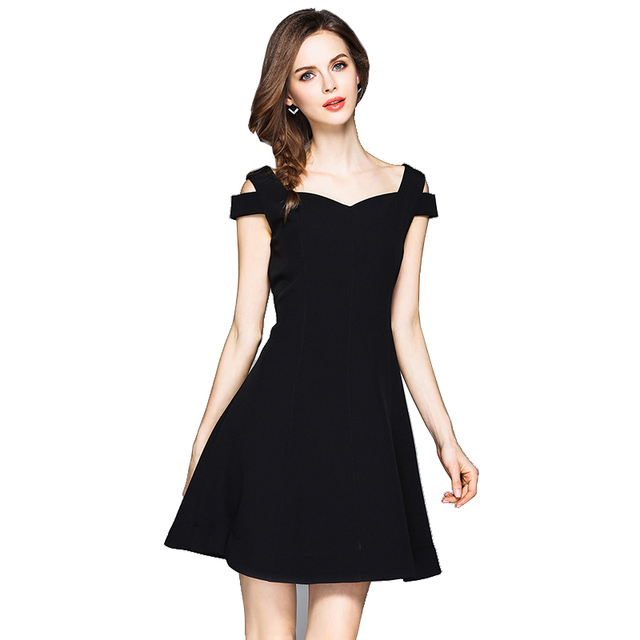 4e37a1d3b9 New Arrival V-neck Short Sleeve Summer Black Mini Dresses High Quality off  Shoulder Simple Casual Party Dress size S-XXL