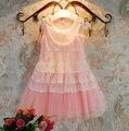 Perlas de encaje vestido de la muchacha al por menor 2017 de los bebés de algodón de moda vestido de ropa de la muchacha niños ropa de bebé vestidos de menina