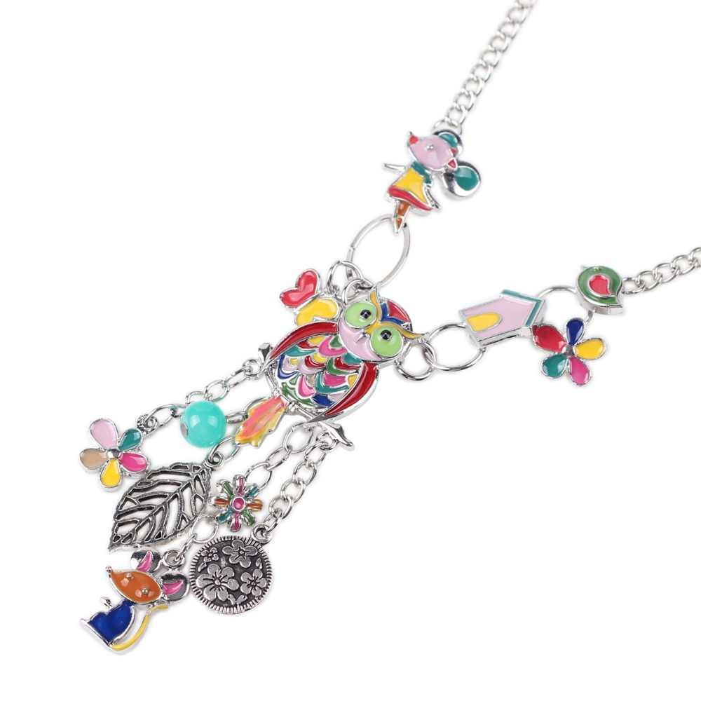 Bonsny эмаль ювелирные изделия Шарм мышь цветок сова ожерелье цепь Moose сплав Макси заявление Лось Wapiti новости Воротник Колье Ожерелье
