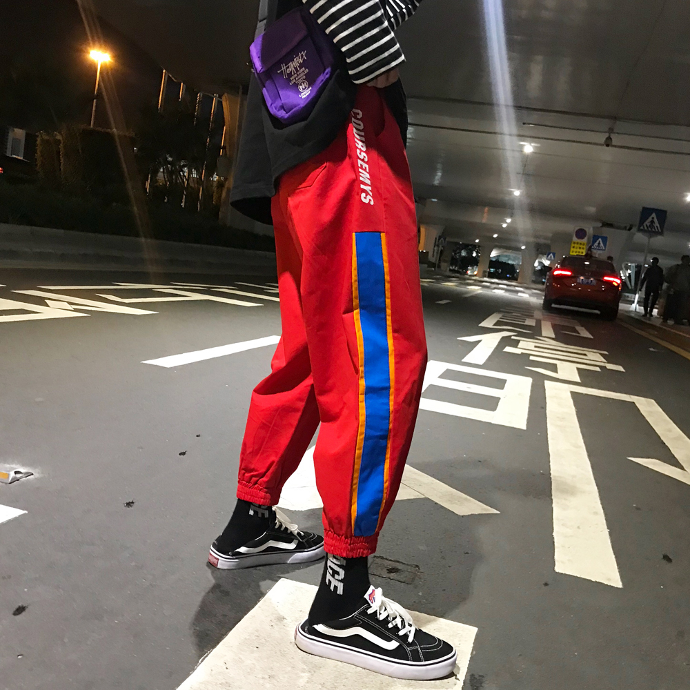 Fashion Casual Men's Cropped Trousers Autumn New M-2xl Color Matching Loose Beam Pants Black Red Personality Youth Popular