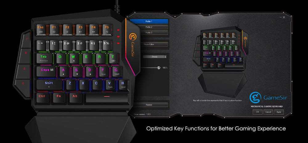 Mini Mechanical Blue Switches PC Gaming Keypad for FPS Games, One-hand Keyboard with LED light - GK100 9