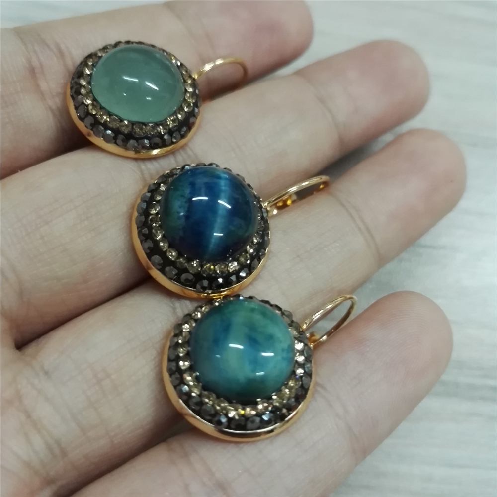 New Simple Jewelry Natural Green Blue Stone Charm Pave Golden And Black  Rhinestone On Silver Color